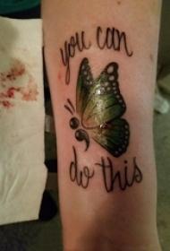 3d蝴蝶纹身 男生手臂上英文和蝴蝶纹身图片