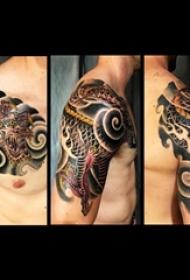 纹身龙 男生手臂上彩色纹身龙图片