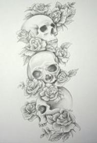 多款黑灰素描点刺技巧文艺唯美花朵霸气骷髅纹身手稿