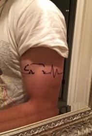 心电图纹身 男生手臂上心电图纹身图片