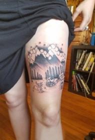 山水纹身图案 女生大腿上山水纹身图片