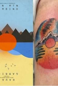 纹身风景 男生手臂上彩绘纹身风景图片