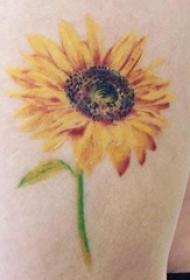 向日葵纹身 女生大腿上向日葵纹身图片