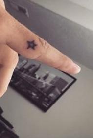 大五角星纹身 男生手指上黑色的五角星纹身图片
