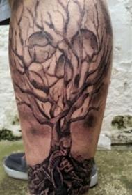 树纹身 男生小腿上树纹身骷髅头图片