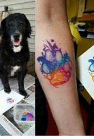 手臂紋身圖片 女生手臂上彩色的爪印紋身圖片