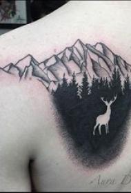 山峰的纹身 女生背部山峰纹身图片