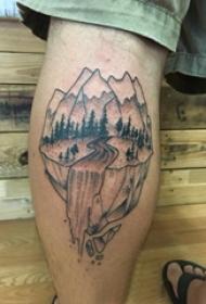 山水纹身 男生小腿上山水纹身图片