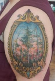 树纹身 男生手臂上树纹身彩绘图片