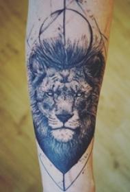 狮子头纹身图片 男生手臂上狮子头纹身图片