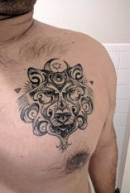 老虎图腾纹身 男生胸口上老虎图腾纹身图片