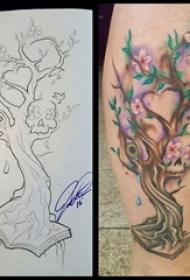 树纹身 女生小腿上树纹身彩绘图片