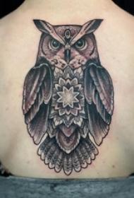 百乐动物纹身 女生后背上黑色的猫头鹰纹身图片