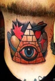 艺术抽象颈部纹身