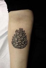 手臂纹身素材 女生手臂上黑色的松果纹身图片
