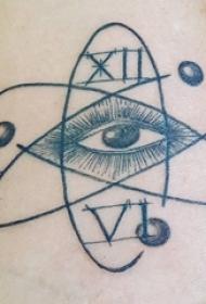 手臂纹身素材 男生手臂上黑色的眼睛纹身图片