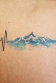 手臂纹身素材 男生手臂上彩色的海浪纹身图片