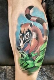动物纹身 男生小腿上动物纹身彩绘图片
