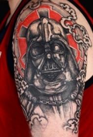 武士纹身 男生大臂上彩色的武士纹身图片