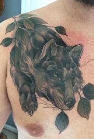 纹身狼图案 男生胸部纹身狼图案
