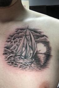 纹身小帆船 男生胸部黑色的帆船纹身图片