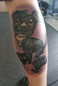 小狗纹身 男生小腿上可爱小狗纹身图片