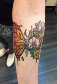 3d蝴蝶纹身 女生手臂上彩色的蝴蝶纹身图片
