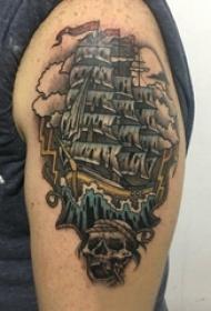 帆船纹身 男生手臂上帆船纹身图片