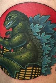 小恐龍紋身 男生大腿上彩色的恐龍紋身圖片