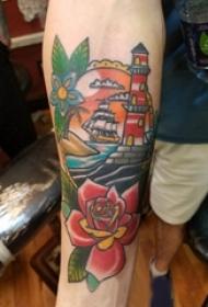 纹身灯塔 男生手臂上彩色纹身灯塔图片