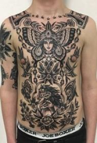 女生人物纹身图案 男生腹部女生人物纹身图案