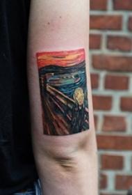 油画风格纹身 女生手臂上彩色的油画纹身图片