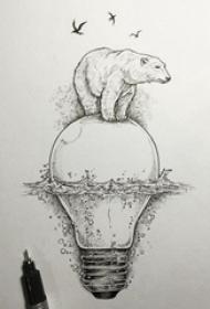 熊纹身手稿  创意的黑色熊和灯泡纹身手稿