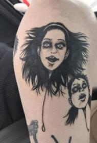 人头纹身图案 男内行臂上黑色的人头纹身图片