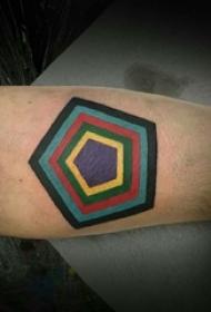 欧美几何纹身图案 男生手臂上欧美几何纹身图案