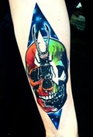骷髅头纹身 男生手臂上骷髅头纹身图片