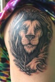 狮子头纹身 男生手臂上狮子头纹身图片