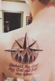 山水纹身图案 男生背部山水纹身图案和英文短句纹身图片