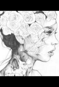 纹身人物手稿 黑灰纹身人物手稿