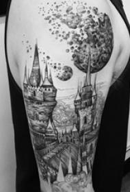 欧美城堡纹身 男生手臂上欧美城堡纹身图片