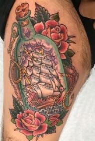 帆船纹身图片 男生手臂上帆船纹身霸气图片