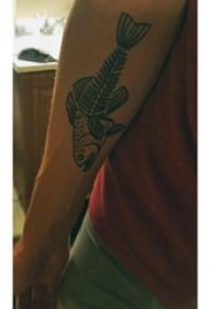 手臂纹身素材 男生手臂上黑色的动物纹身图片