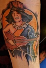 彩绘纹身 男生小腿上吉他和人物纹身图片