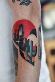 仙人掌纹身 男生手臂上彩绘纹身仙人掌纹身图片