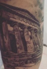 纹身大腿男 男生大腿上黑色的建筑物纹身图片