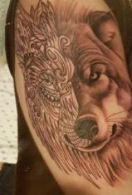 纹身狼头 男生手臂上黑色纹身狼头图片