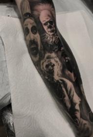 人物花臂纹身图案 男生手臂上黑色