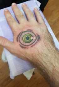 手背纹身 男生手背上彩色的眼睛纹身图片