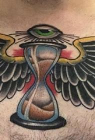 彩色老鹰纹身 男生锁骨下彩色老鹰纹身图片