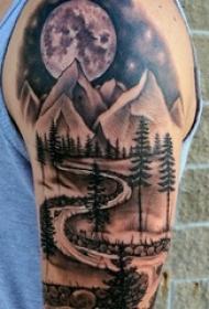 手臂山水纹身 男生手臂上山水纹身图片